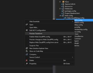 preview config context menu