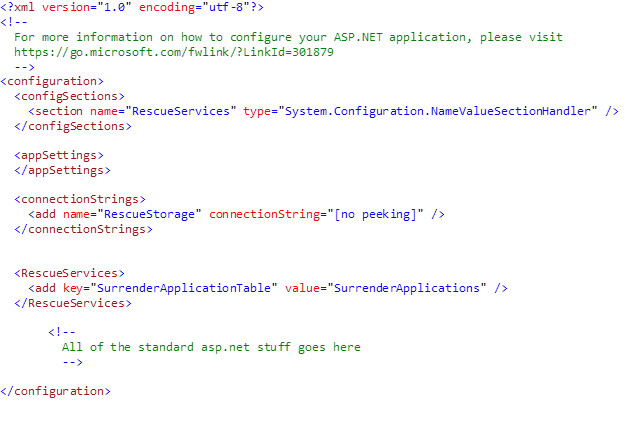 custom .net config sections app.config file